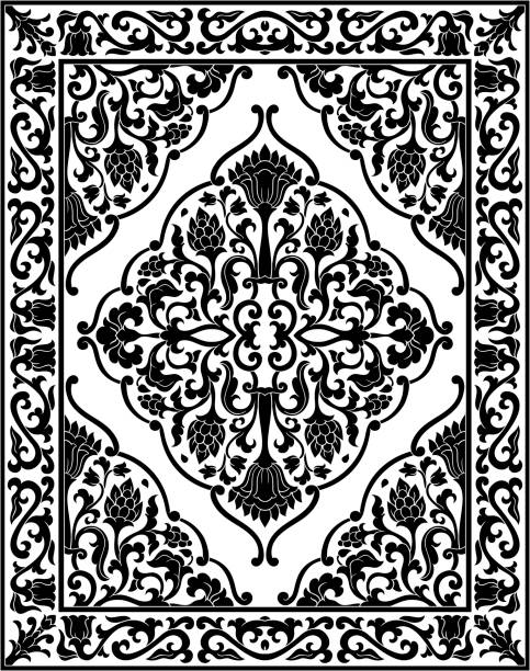 Black and white floral carpet. Black and white template for carpet, textile. Oriental floral pattern with frame. tapestry stock illustrations