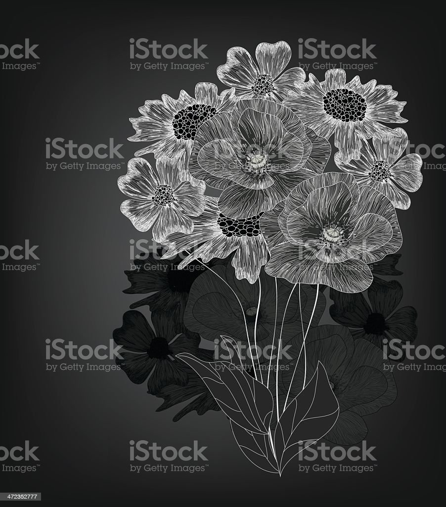 Black and white floral composition royalty-free stock vector art