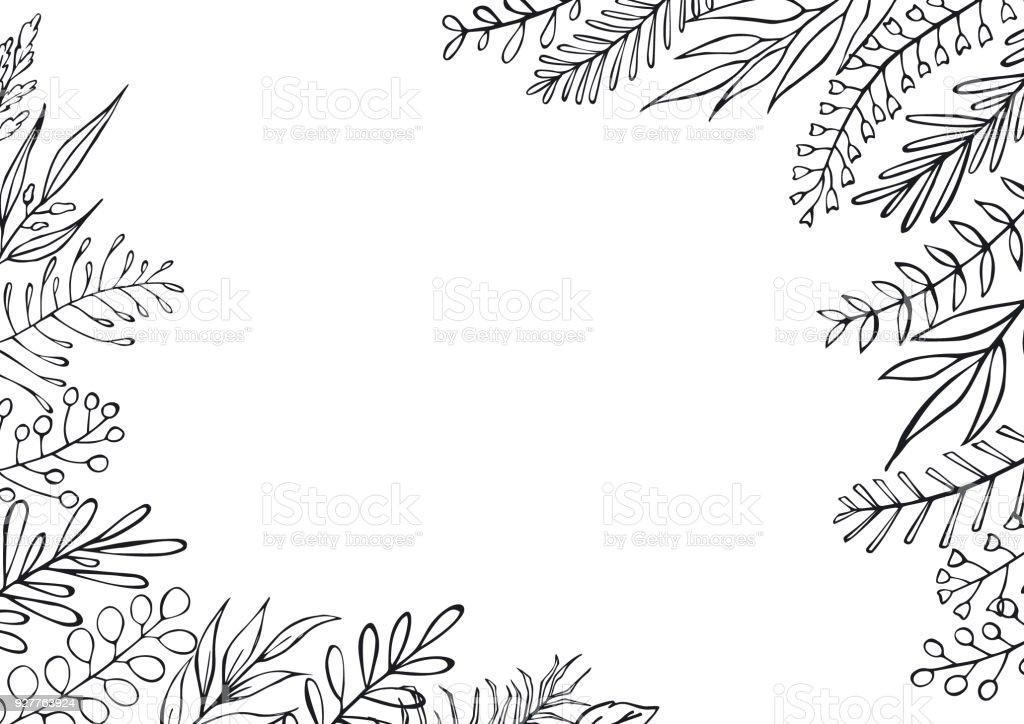 Ilustración de Blanco Y Negro Floral Mano Granja Dibujados Estilo ...