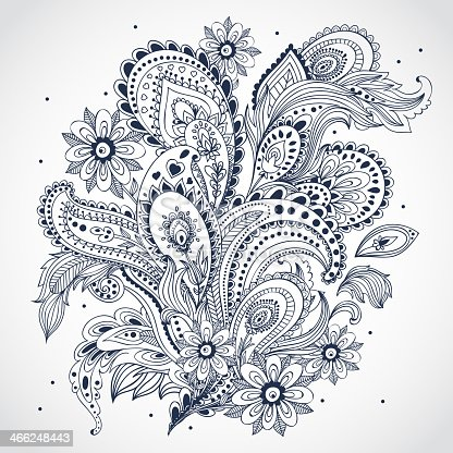 istock Black and white floral Indian ornament on white background 466248443