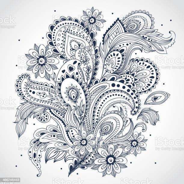 Black and white floral indian ornament on white background vector id466248443?b=1&k=6&m=466248443&s=612x612&h=0tjcf7s8mysl1vvcw4p 3e5s75jewpmtbuo37s5li78=