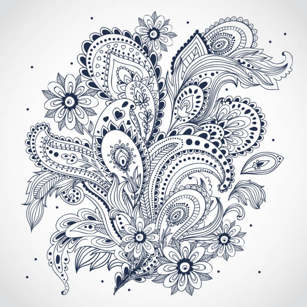 stockillustraties, clipart, cartoons en iconen met black and white floral indian ornament on white background - hennatatoeage