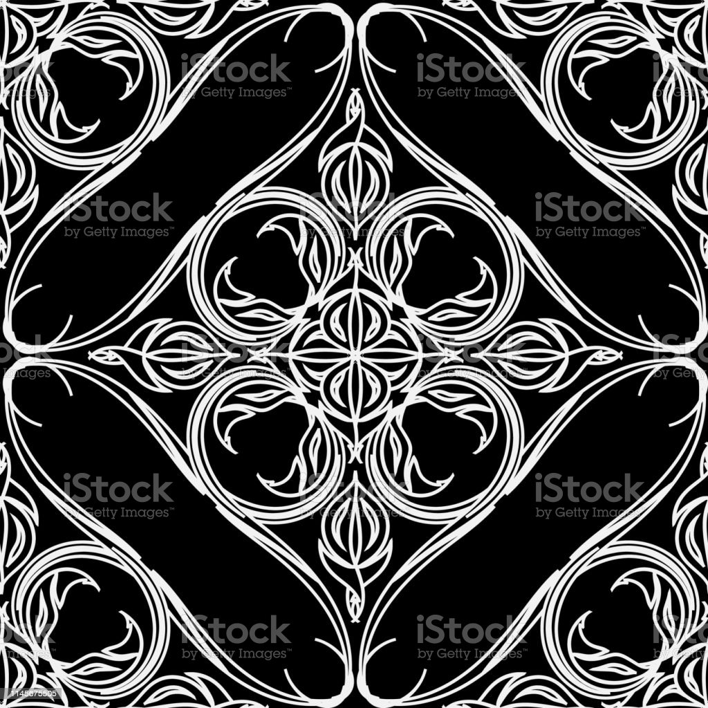 Black and white floral line art vector seamless pattern. Damask...