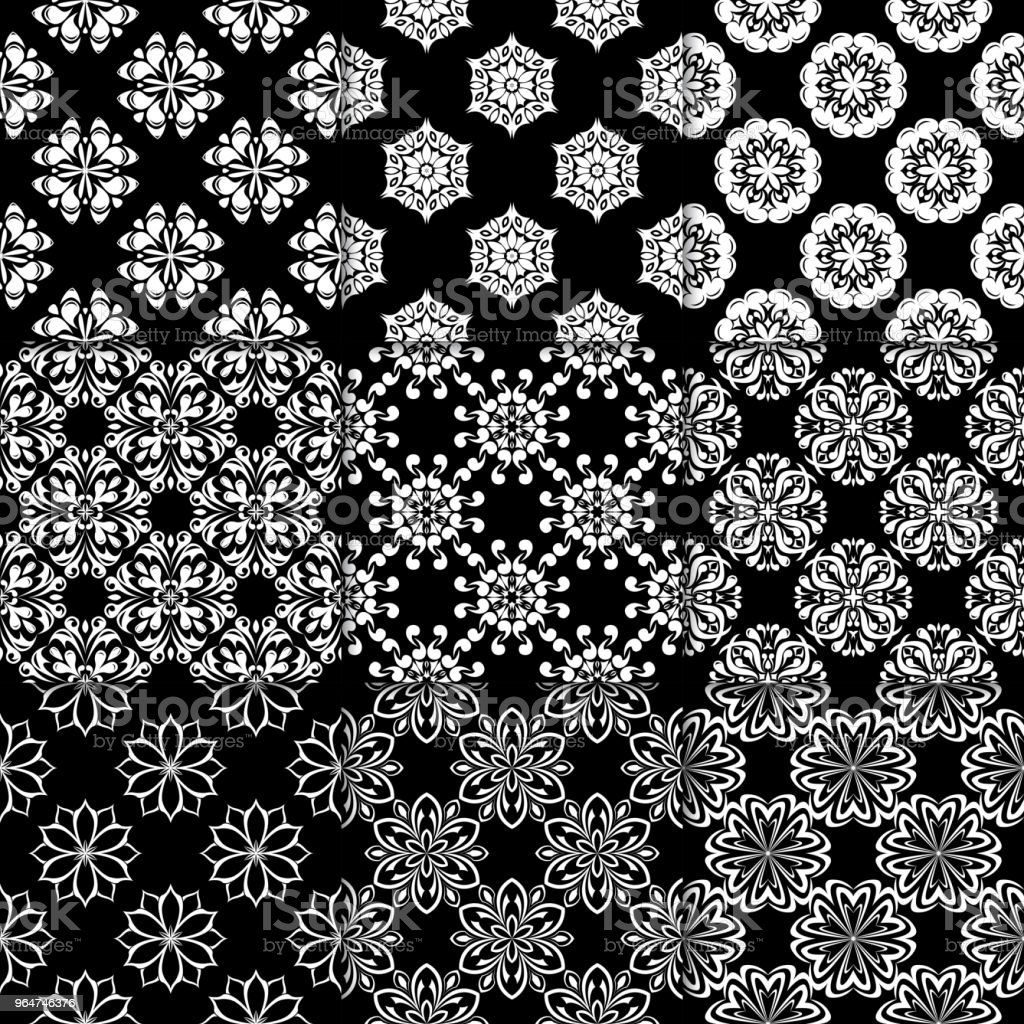 Black and white floral ornaments. Collection of seamless patterns royalty-free black and white floral ornaments collection of seamless patterns stock vector art & more images of abstract
