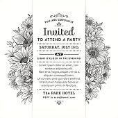 Invitation with black and white flowers and leaves.File is layered with global colors.Hi res jpeg without text included.More works like this linked below.