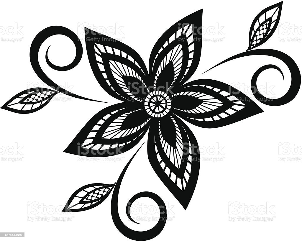black and white floral pattern design element stock vector