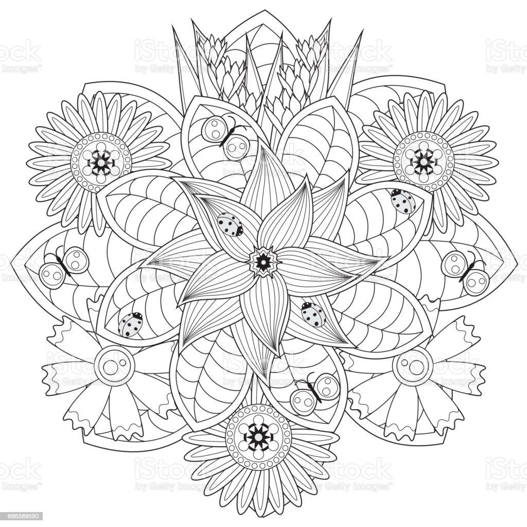Svart och vitt blommönster för målarbok i doodle stil. vektorkonstillustration