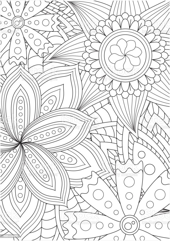 Black and white floral pattern for coloring book in doodle style. – Vektorgrafik