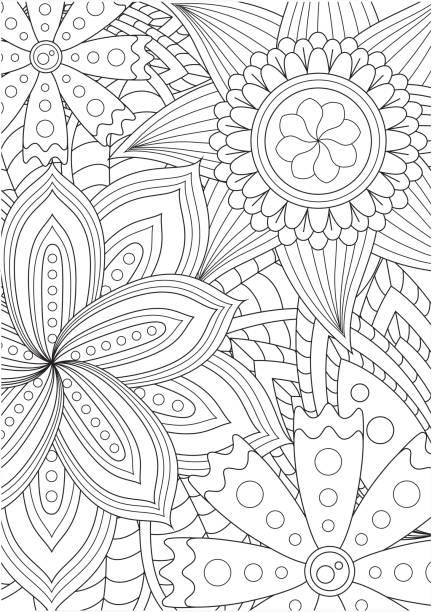 illustrations, cliparts, dessins animés et icônes de motif floral noir et blanc pour le livre de coloriage dans le style de doodle. - adulte