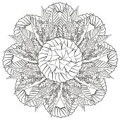 Black and white floral pattern for coloring book in doodle style.