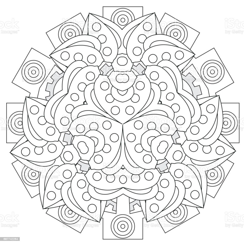 black and white floral pattern for coloring book in doodle style
