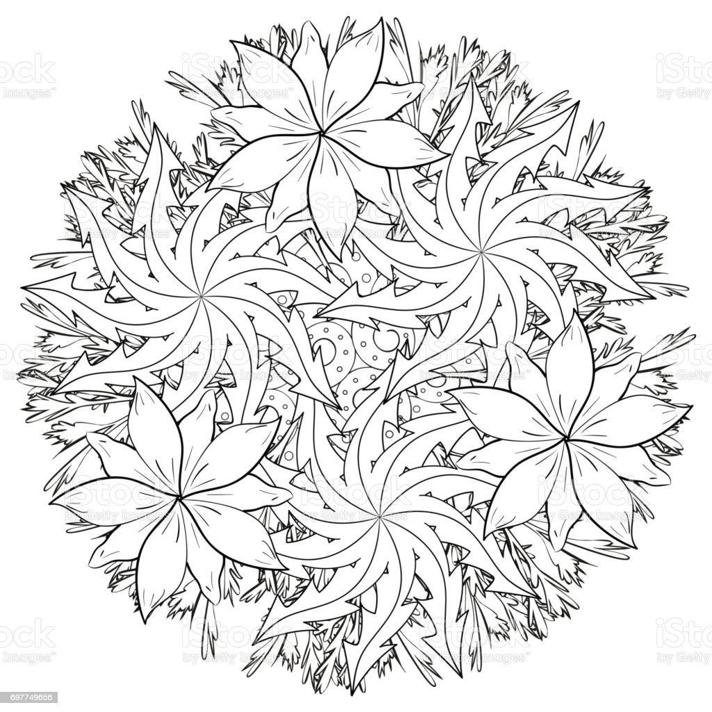 Boyama Kitabı Doodle Tarzı Için çiçek Desenli Siyah Ve Beyaz Stok