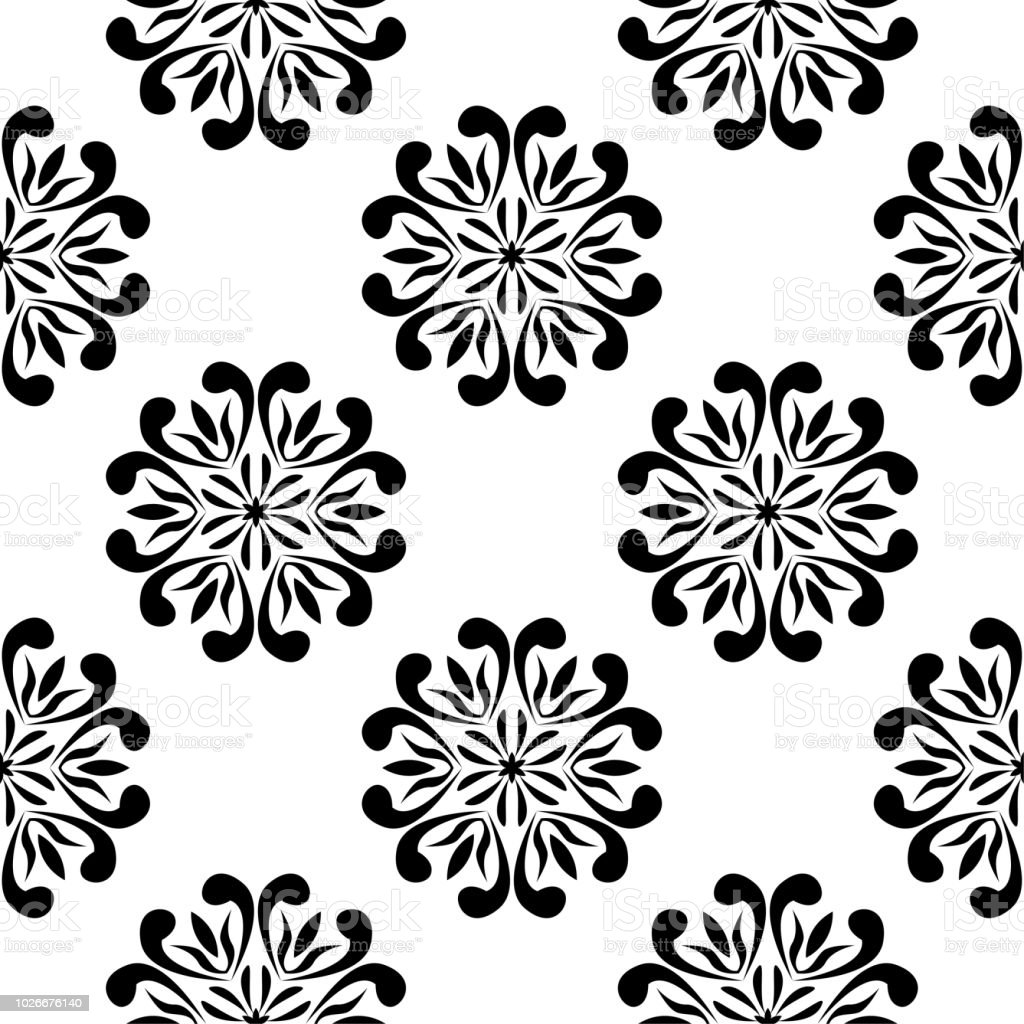 Black And White Floral Seamless Pattern Stock Vector Art More
