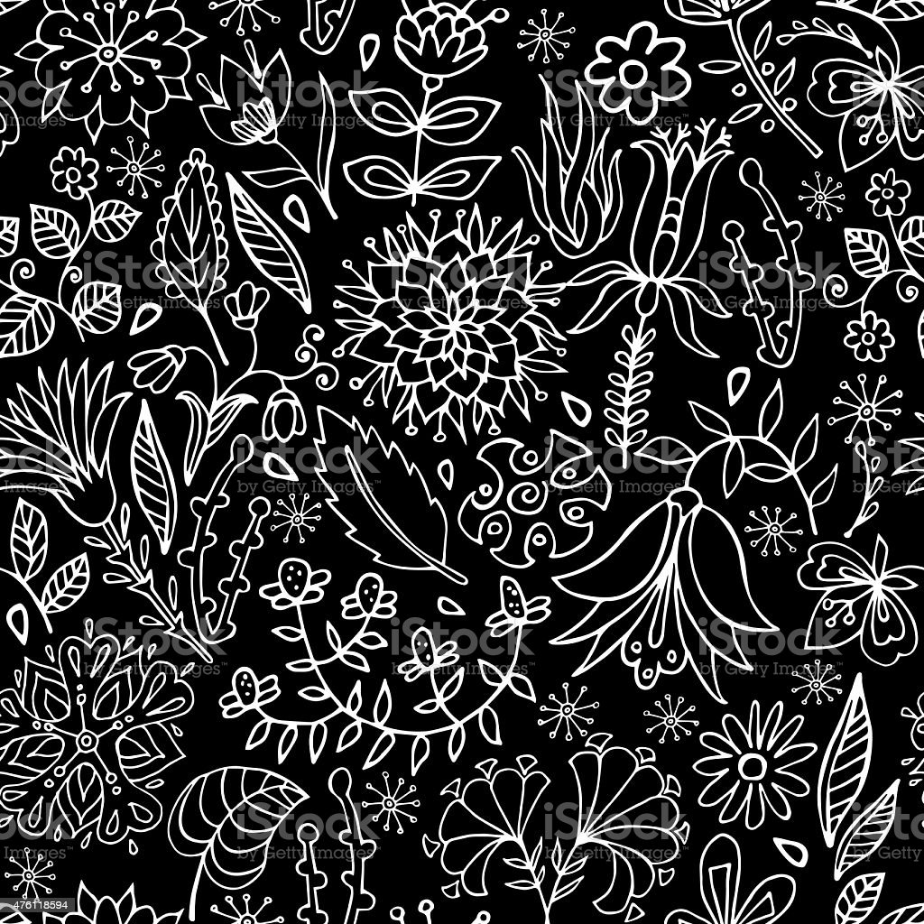 Black and white floral seamless pattern vector art illustration