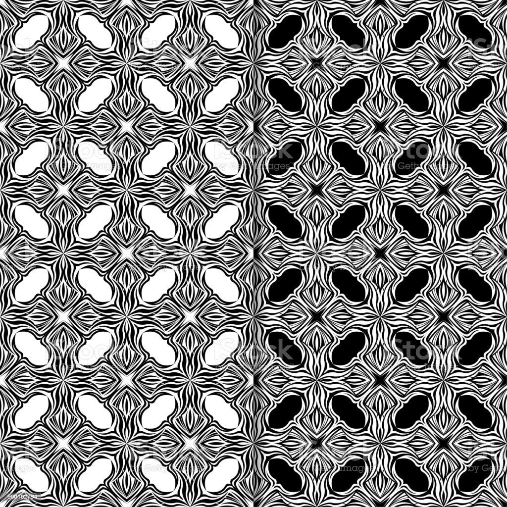 Svart och vitt sömlös blommönster. Uppsättning bakgrunder - Royaltyfri Abstrakt vektorgrafik