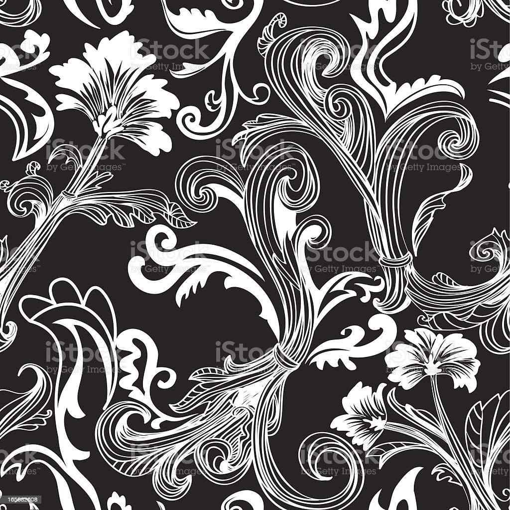 Black Flower Pattern Stock Images: Black And White Floral Swirl Pattern Tile Stock Vector Art