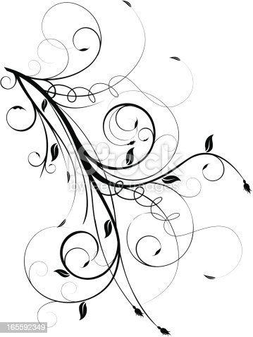 istock Black and white floral vine graphic 165592349