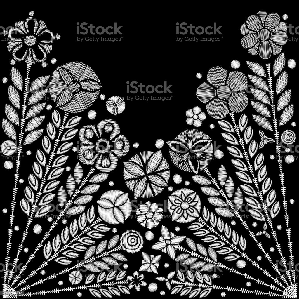 Black And White Flower Embroidery Design Embroidery Ethnic Floral