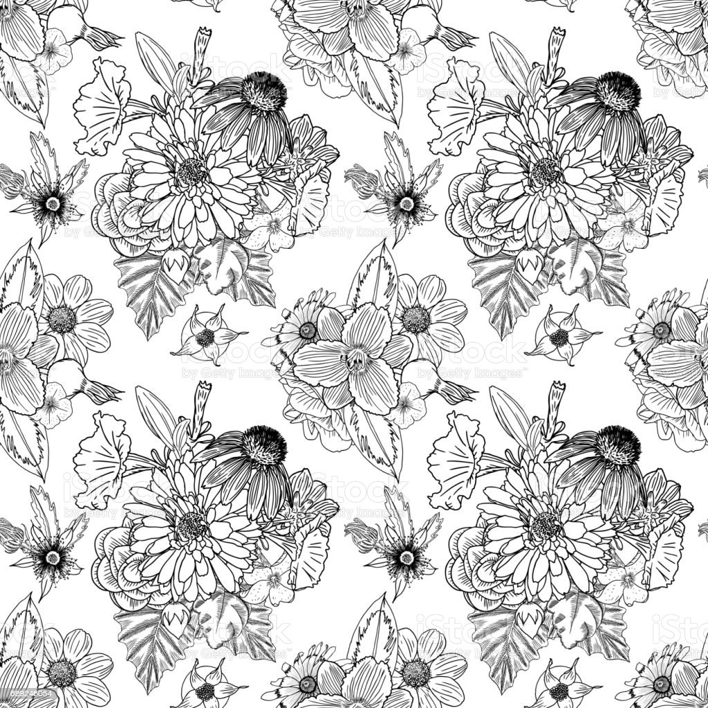 Black And White Flower Pattern For Coloring Endless Floral Drawing Doodle Art Therapy Page