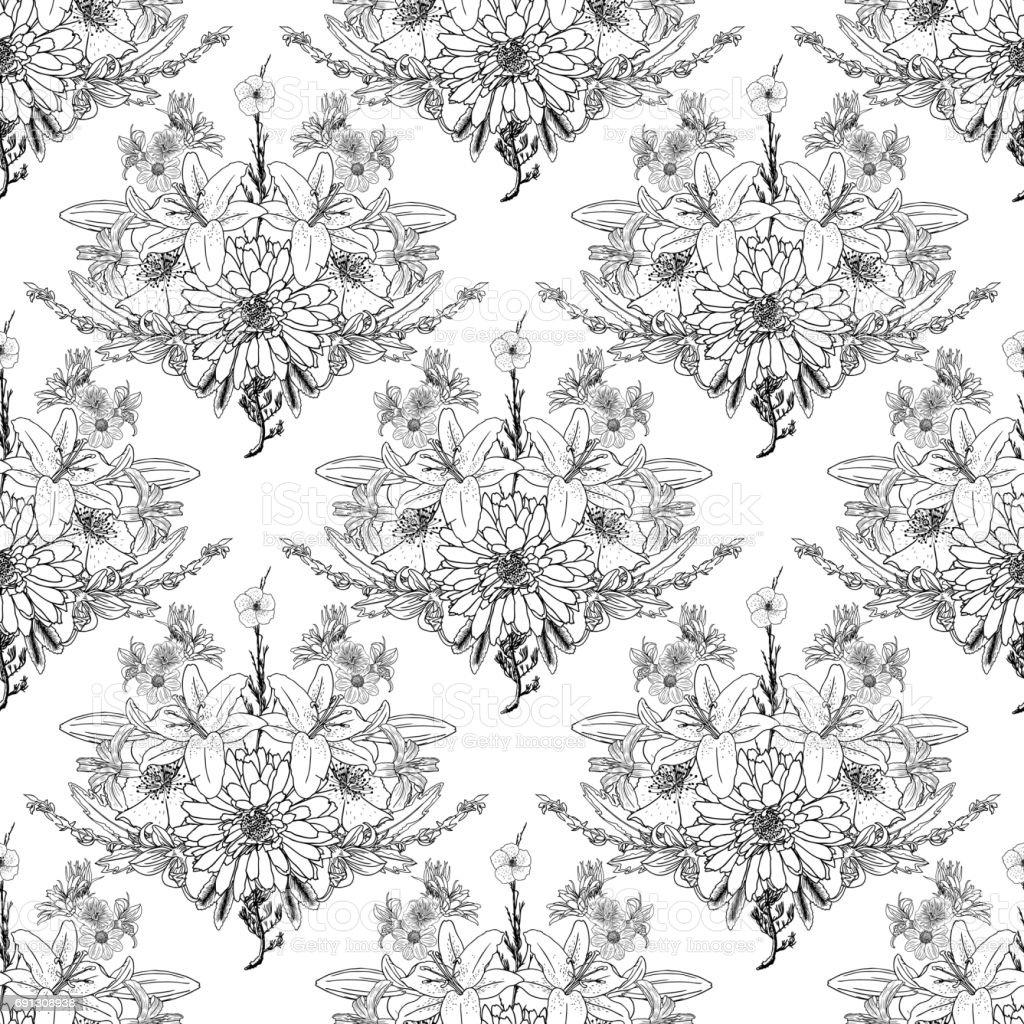 Siyah Ve Beyaz çiçek Deseni Boyama Sonsuz çiçek çizim Sanat Terapisi