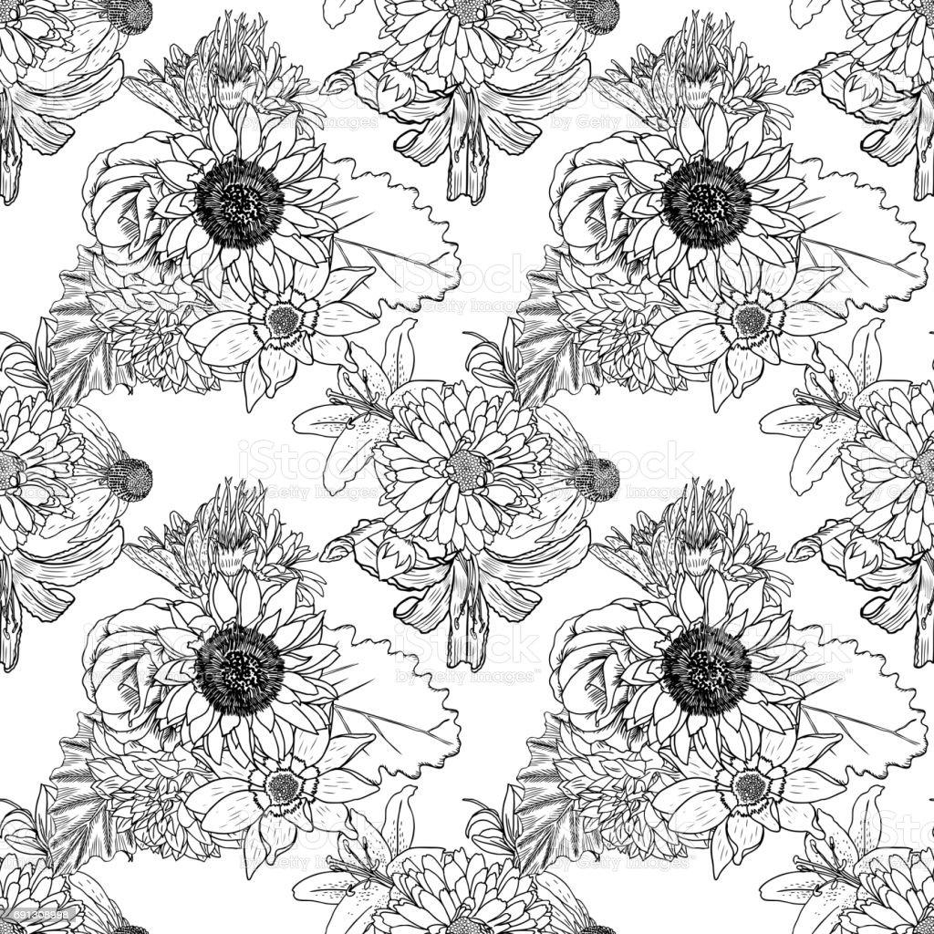 Blanco Y Negro Patrón De Flores Para Colorear Dibujo Floral ...