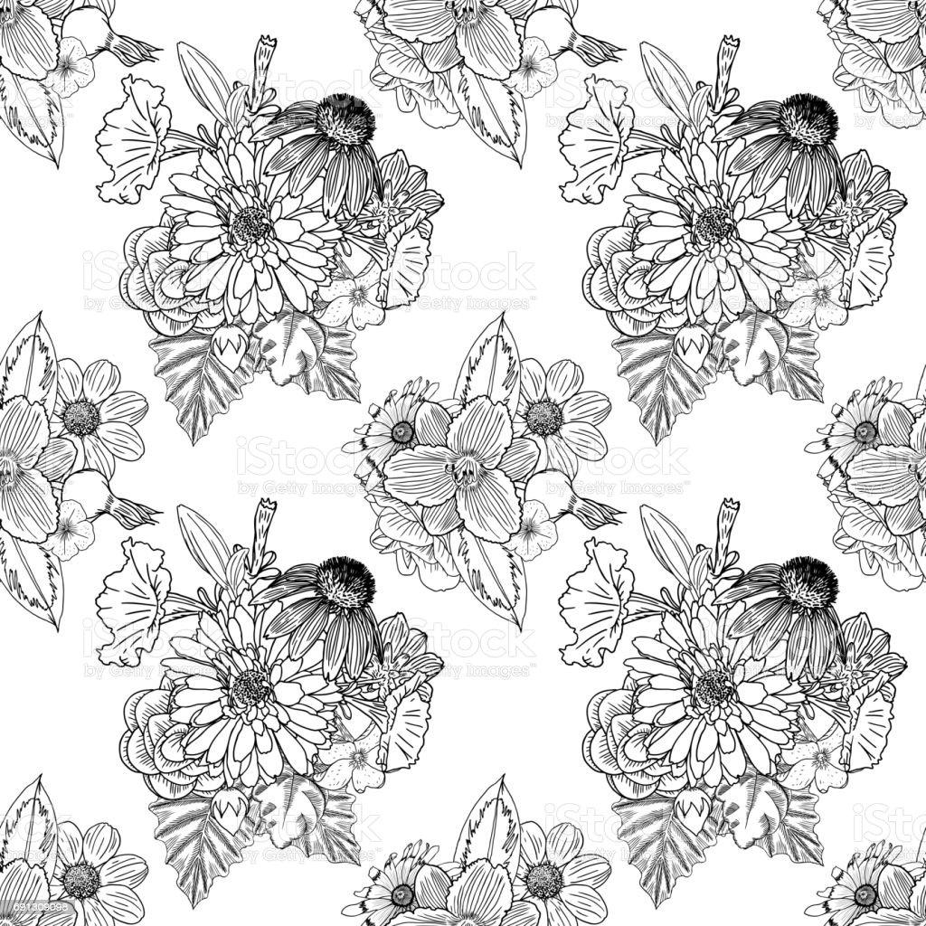 Siyah Ve Beyaz Cicek Deseni Boyama Sonsuz Cicek Cizim Sanat