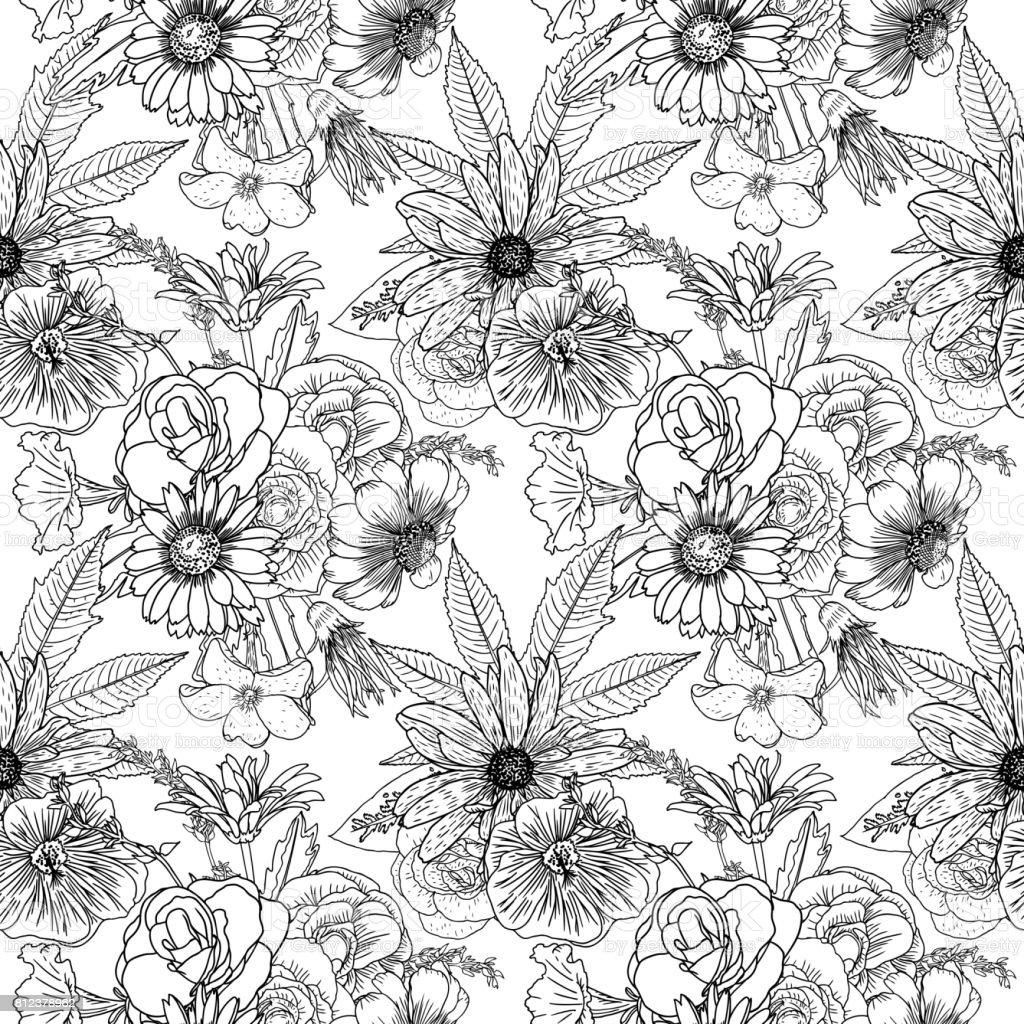 Modèle De Fleur Noir Et Blanc à Colorier Sans Fin Dessin