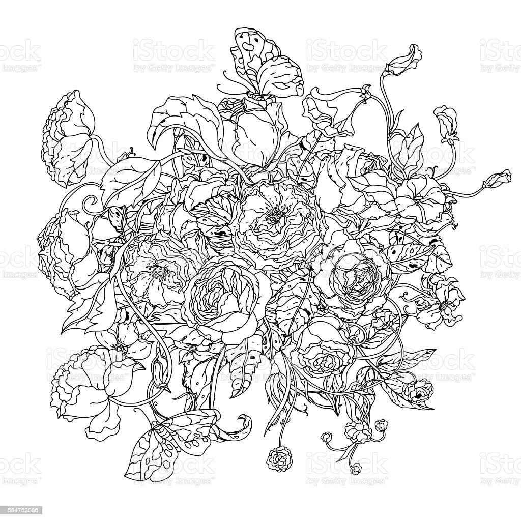 白黒バラの花 お絵かきのベクターアート素材や画像を多数ご用意 Istock