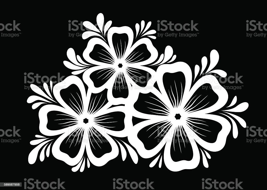 Schwarzweiß Blumen Und Blätter Isoliert Stock Vektor Art und mehr ...