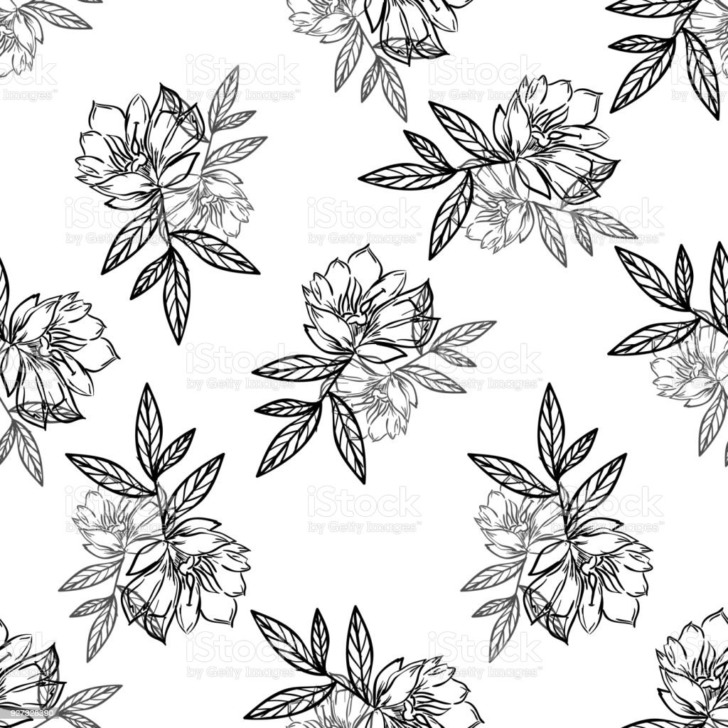 Black And White Flowers Lineart Pattern Stock Vector Art More
