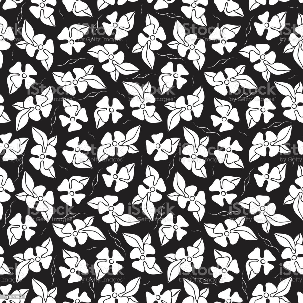Black And White Flowers Seamless Pattern Monochrome Floral