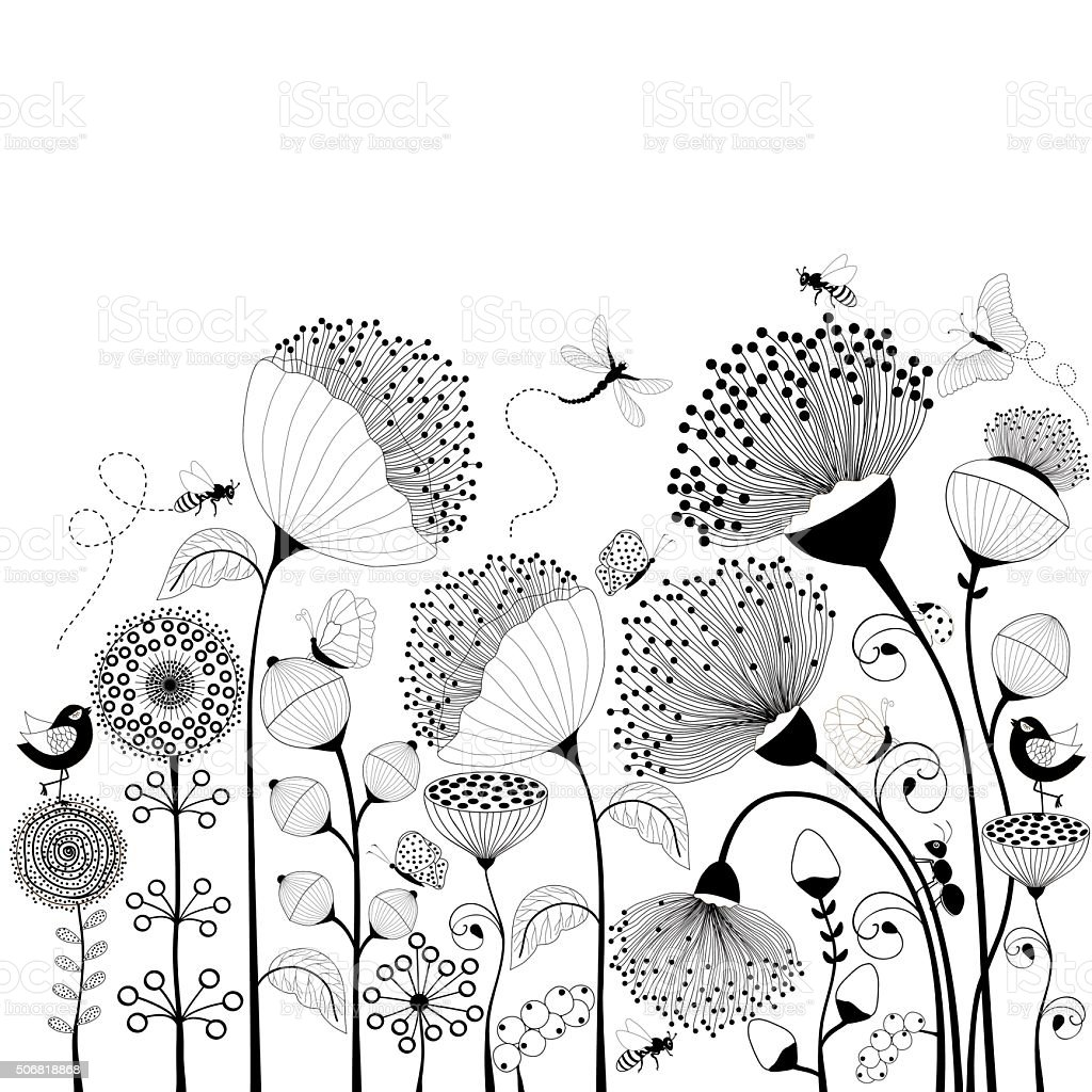 Black and white flowers vector art illustration