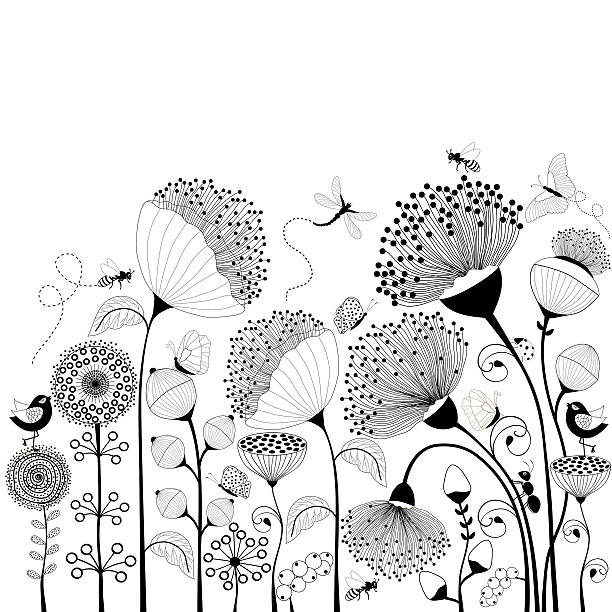 black and white flowers - vintage nature stock illustrations, clip art, cartoons, & icons