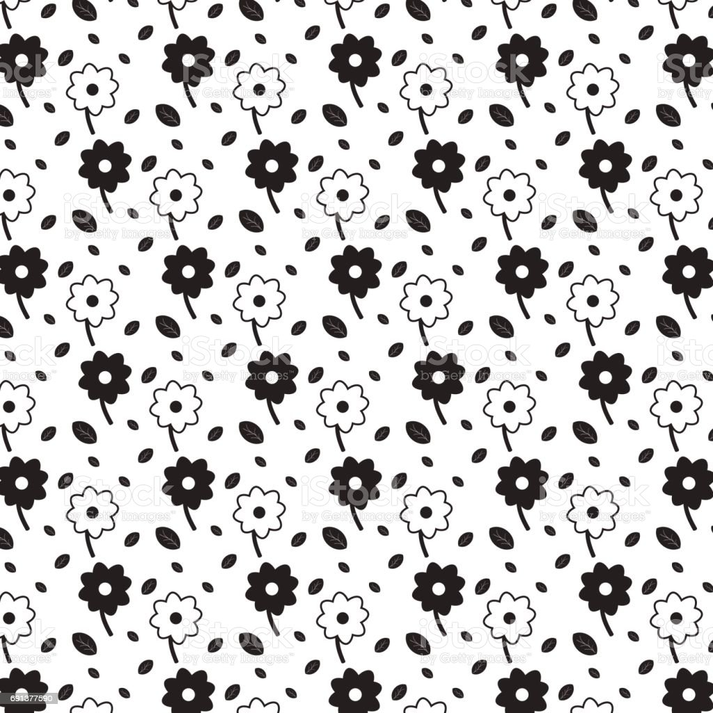 Black and white flowers with black leaves pattern background stock black and white flowers with black leaves pattern background royalty free black and white flowers mightylinksfo