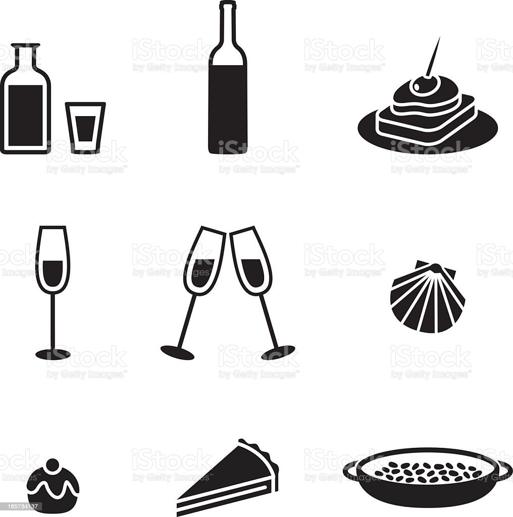 Black and white food and drink icons royalty-free stock vector art