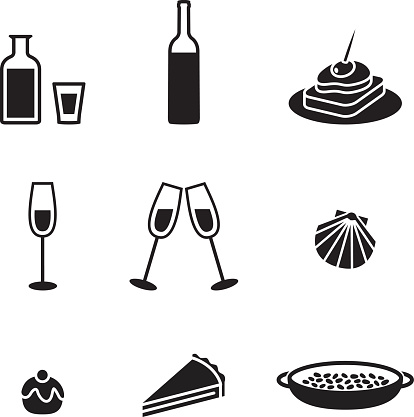 Black and white food and drink icons