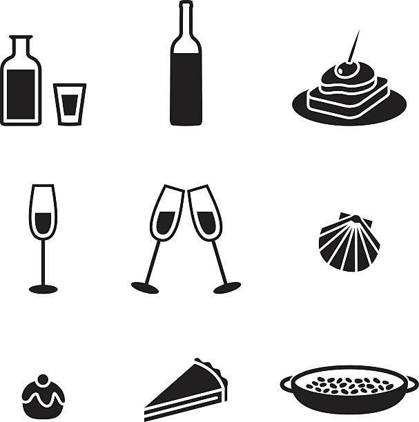 stockillustraties, clipart, cartoons en iconen met black and white food and drink icons - paella