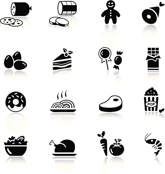 black and white food icons on white background - delis stock illustrations
