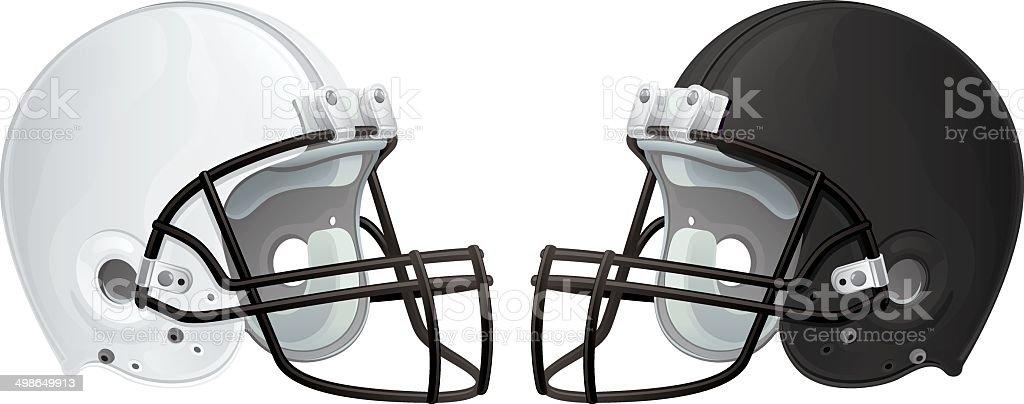 Black and White Football Helmets vector art illustration