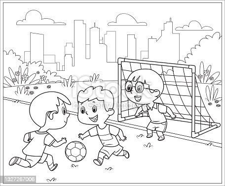 istock Black And White, Football Soccer Match For Children. Boys Playing Football Game Outdoor 1327267006