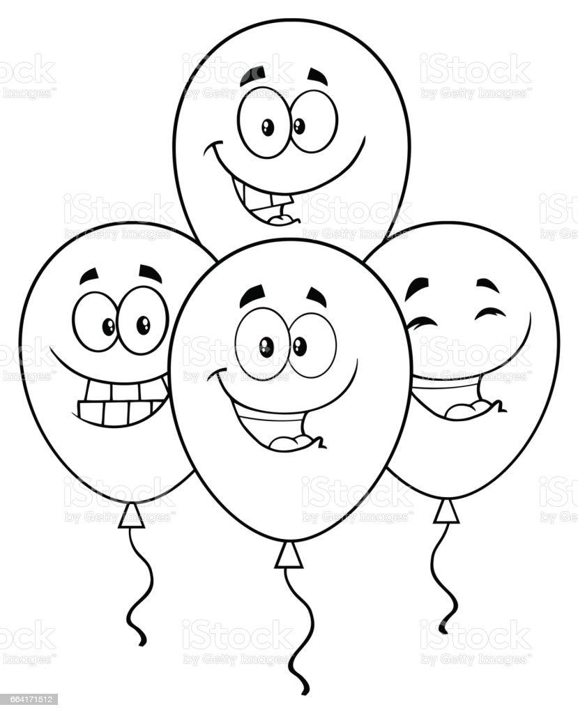 Les Quatre Ballons Noir Et Blanc Dessin Animé Personnage