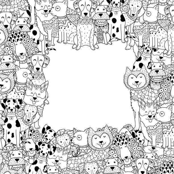 black and white frame with funny dogs in coloring page style - coloring book pages templates stock illustrations