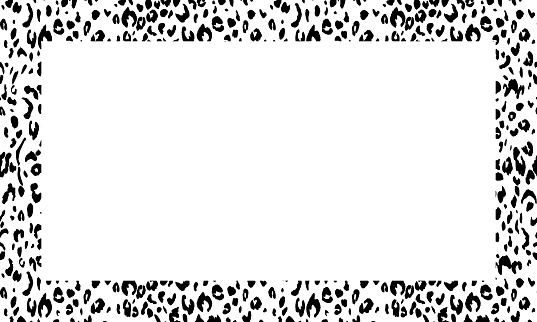 Black and white frame with modern ornament of stylized leopard skin. Squared pattern in form of mandala. Decorative border with animal ornament. Trendy leather skin. Copy space. Vector illustration