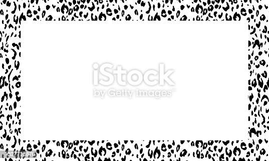 Quadro preto e branco com ornamento moderno de pele de leopardo estilizada. Padrão quadrado em forma de mandala. Borda decorativa com ornamento animal. Pele de couro da moda. Copie o espaço. Ilustração vetorial