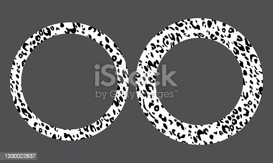 Black and white frame with modern ornament of stylized leopard skin. Round pattern in form of mandala. Decorative border with animal ornament. Trendy leather skin. Copy space. Vector illustration.