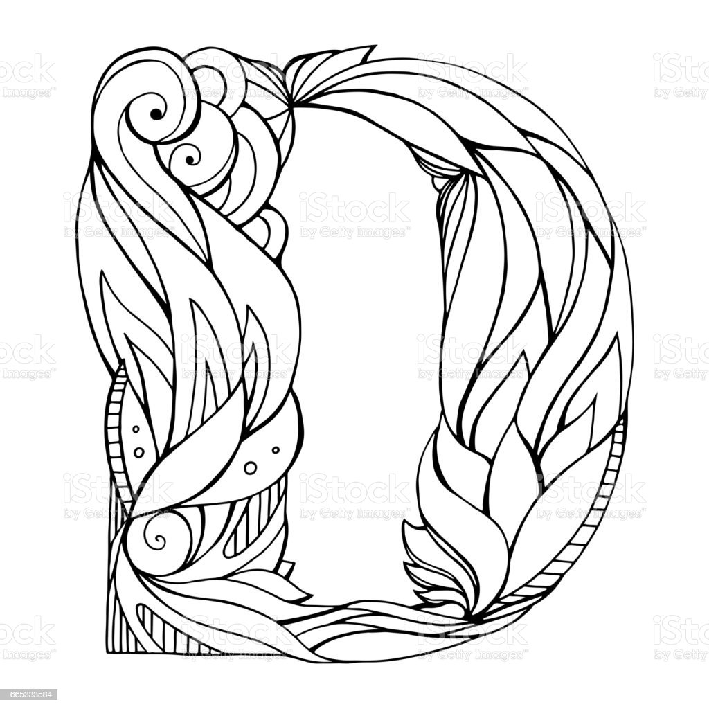 Black And White Freehand Drawing Capital Letter D With