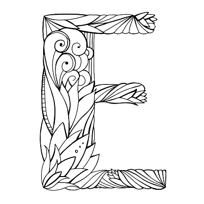 Black And White Freehand Drawing Capital Letter E With