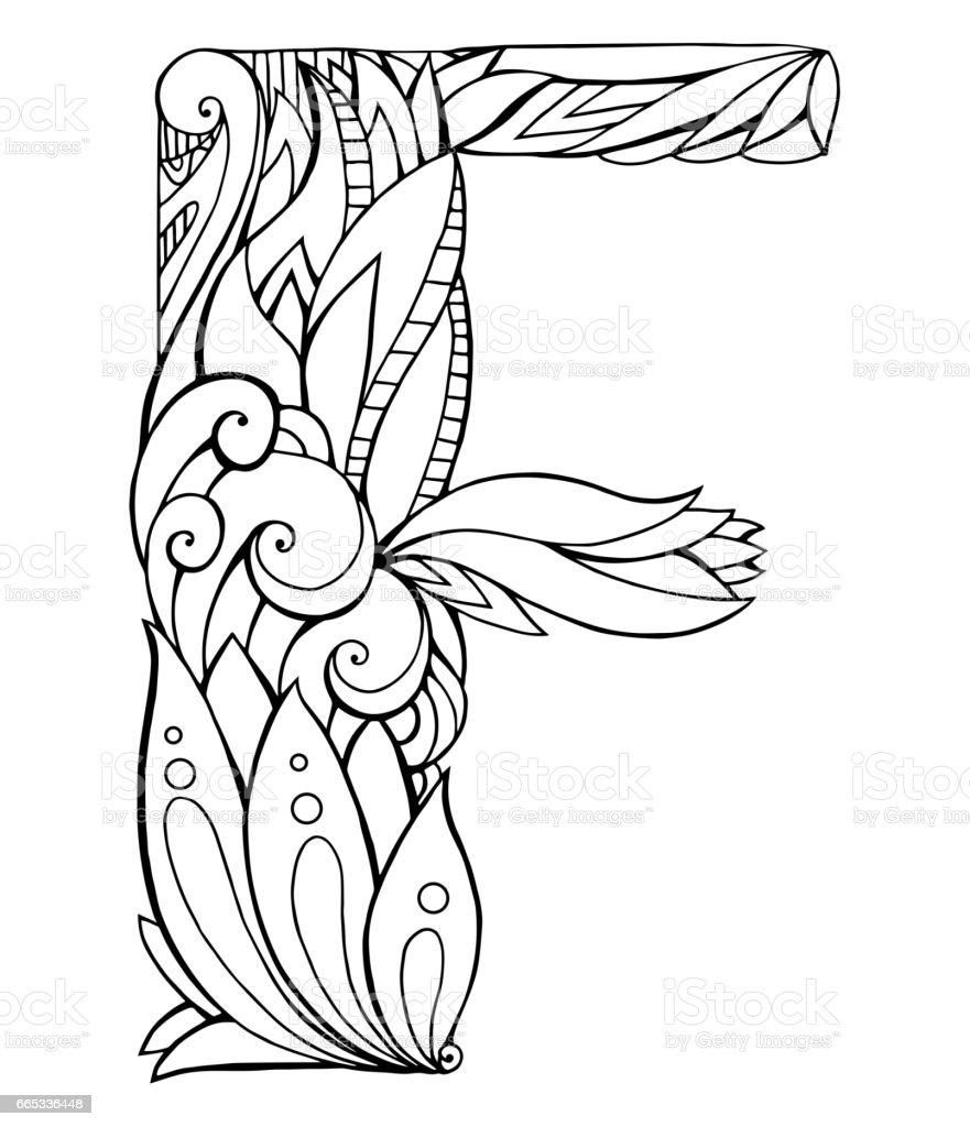 Black And White Freehand Drawing Capital Letter F With Floral Doodle