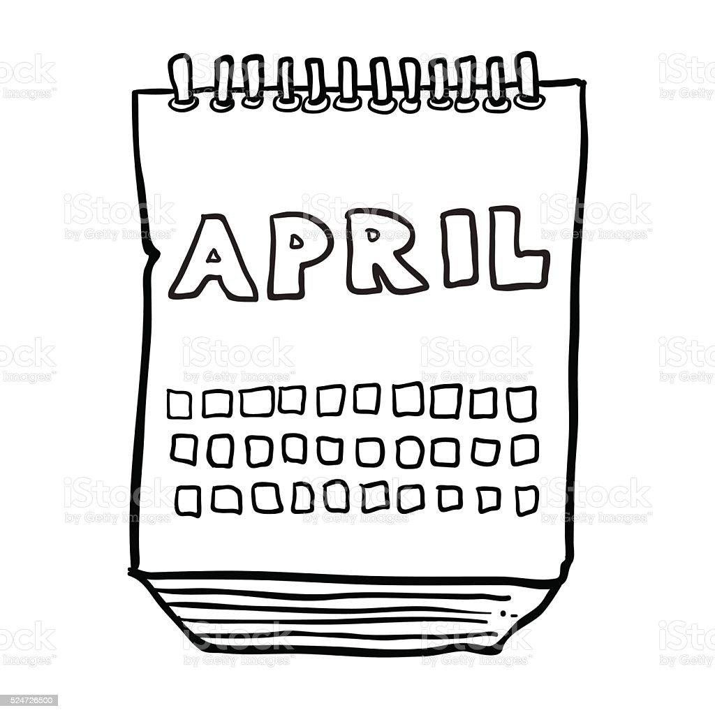 Calendario Dibujo Blanco Y Negro.Ilustracion De Dibujo Animado En Blanco Y Negro Dibujado A Mano Alzada Que Muestra Mes Del Calendario Y Mas Vectores Libres De Derechos De Abril