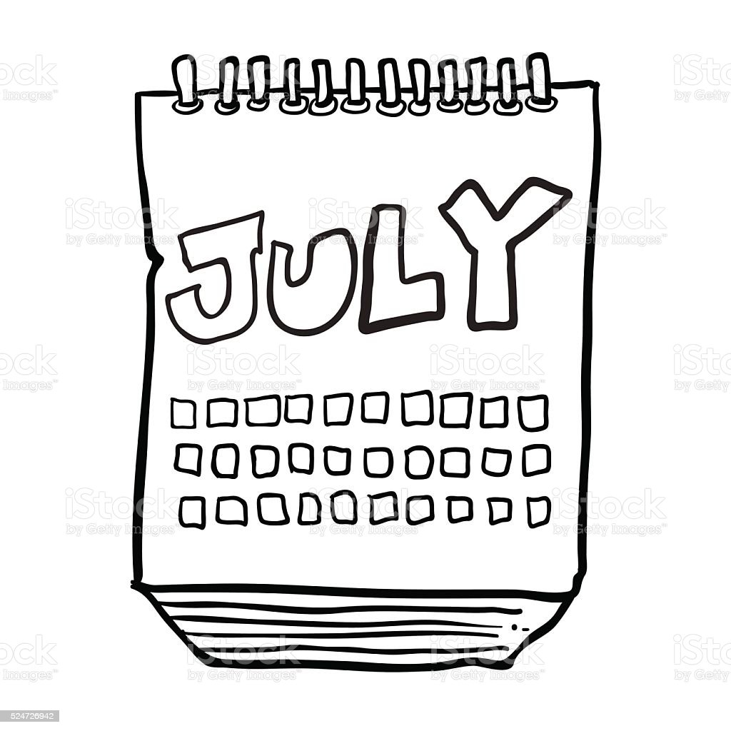 Calendar Drawing Cartoon : Black and white freehand drawn cartoon calendar showing